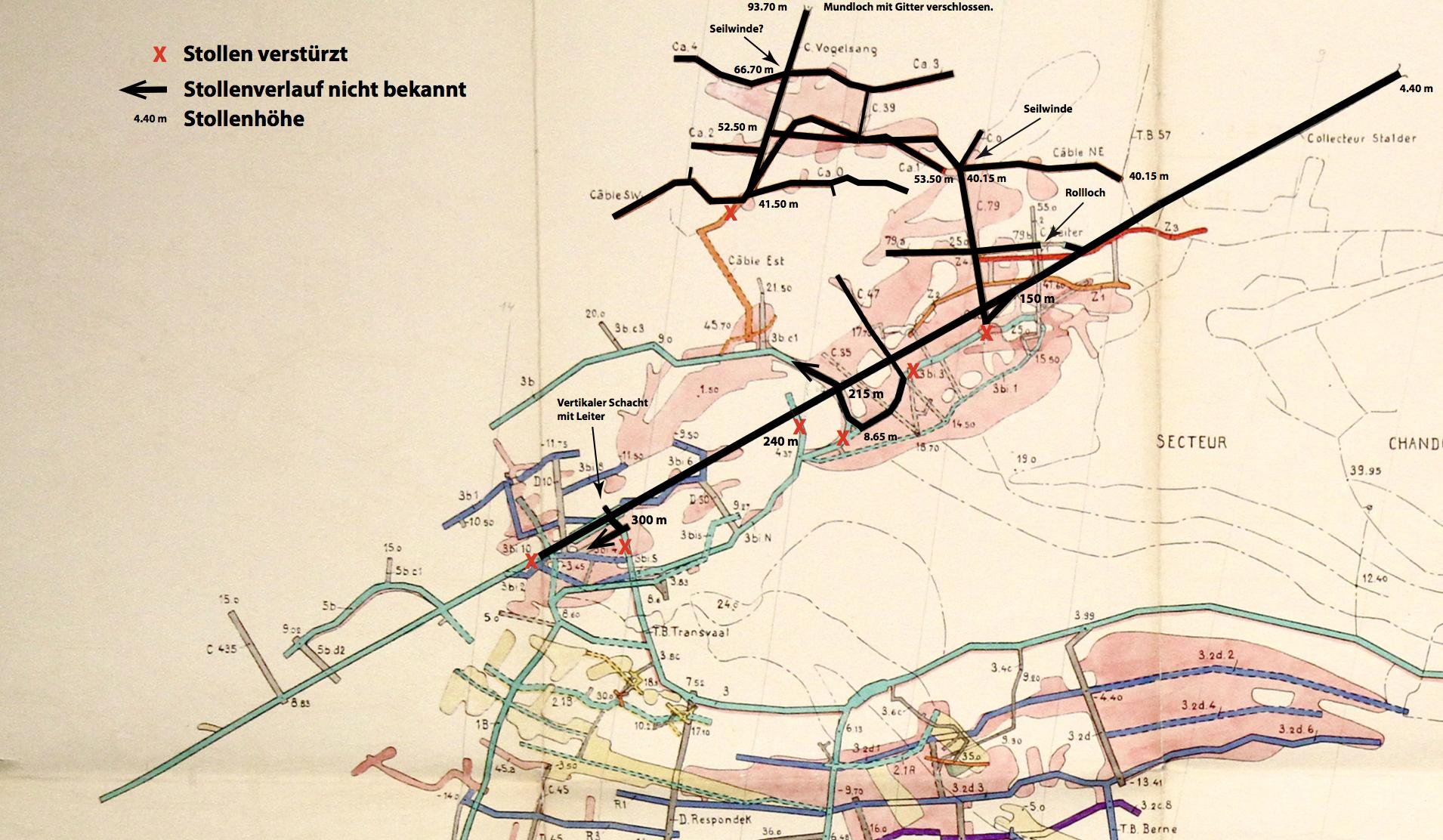 Ausschnitt aus einem Stollenplan von 1944, swisstopo InfoGeol 24208